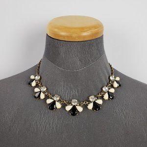 J Crew Black & Cream Rhinestone Necklace